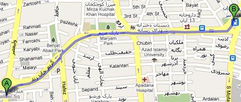 مسیریاب نقشه گوگل